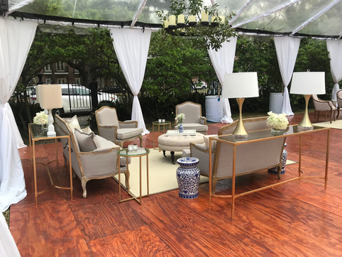 French Country Lounge Set with Gold Console Tables