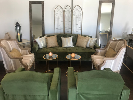 Green Velvet Anderson Lounge and Striped Felicity Armchairs