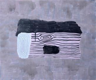 "The Log 2019. Acrylic on linen, 20"" x 24"""