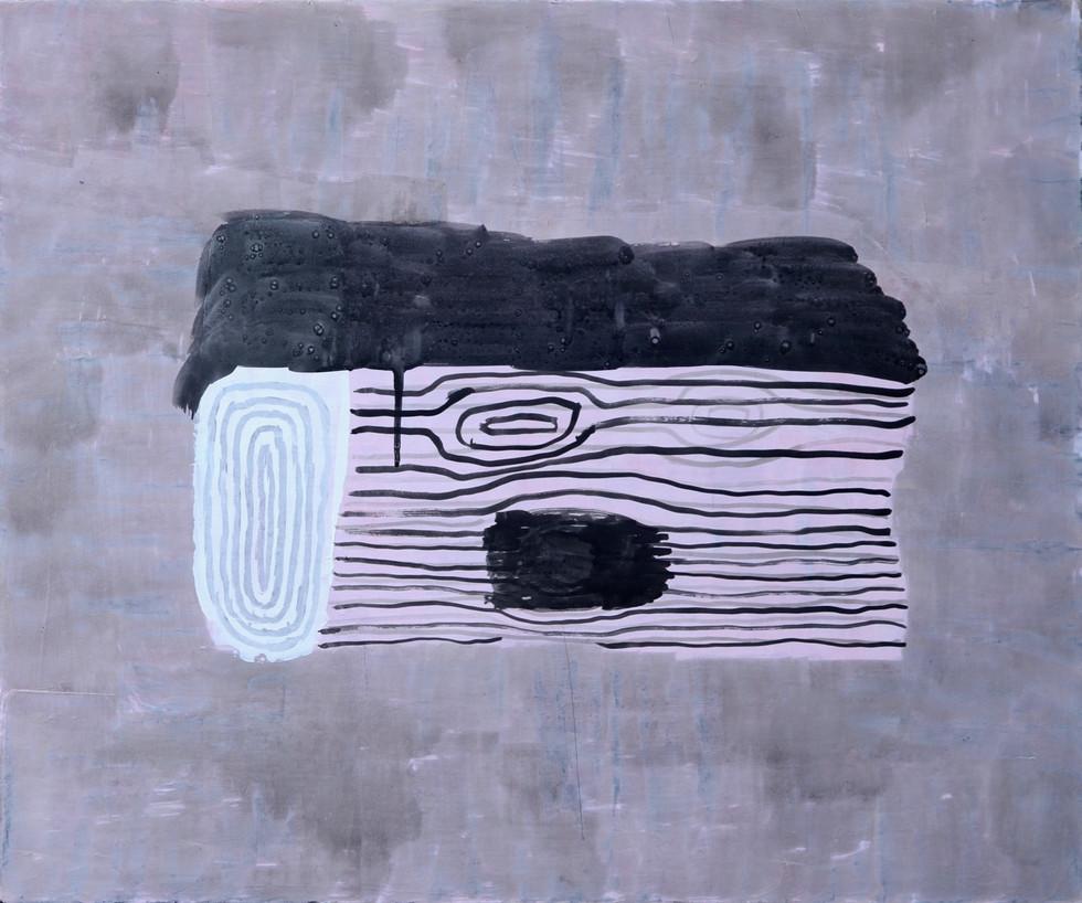 "The Log 2019. Acrylic on linen,20"" x 24"""