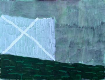 "The Gate, 2019. Acrylic on linen, 12"" x 16"""