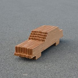 "The Car 2019. Cardboard, 5 ¼"" x 19 /2"" x 4 1/2"""