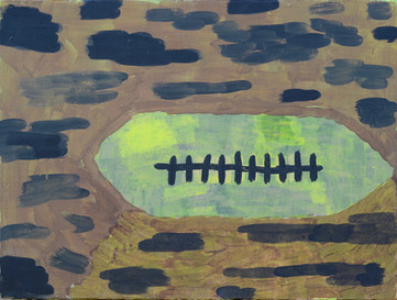 """The Football, 2019. Acrylic on linen, 12"""" x 16"""""""