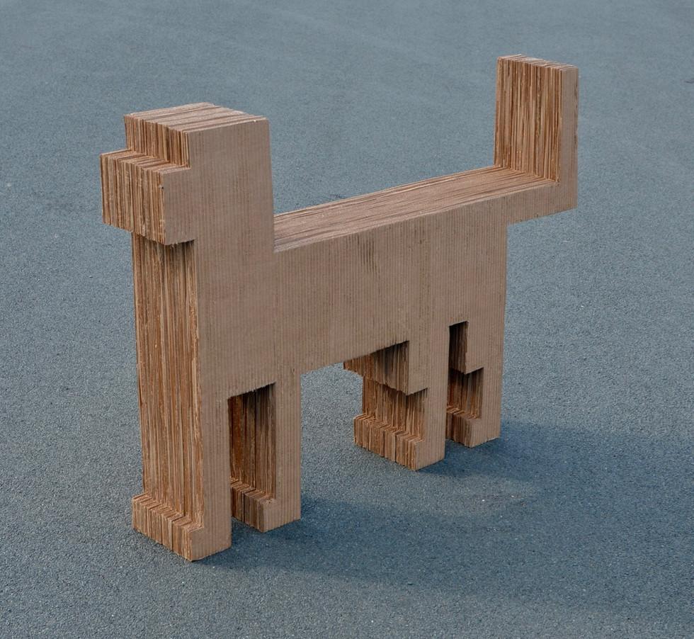 "The Dog 2019. Cardboard, 32"" x 46"" x 8"""