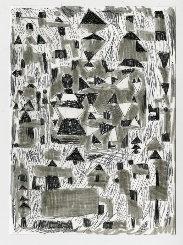 """Nativity 2020 Ink and pen on paper 6"""" x 4 1/2"""""""