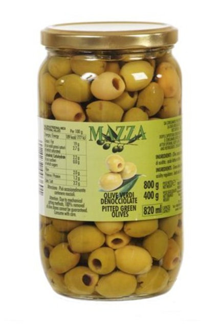 Mazza Pitted Green Olives 820ml jar