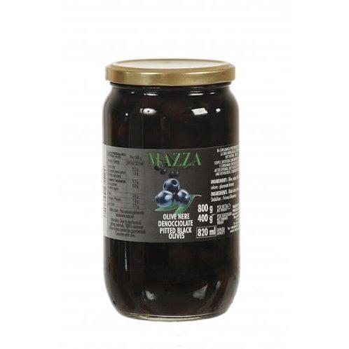 Mazza Pitted Black Olives 820ml jar
