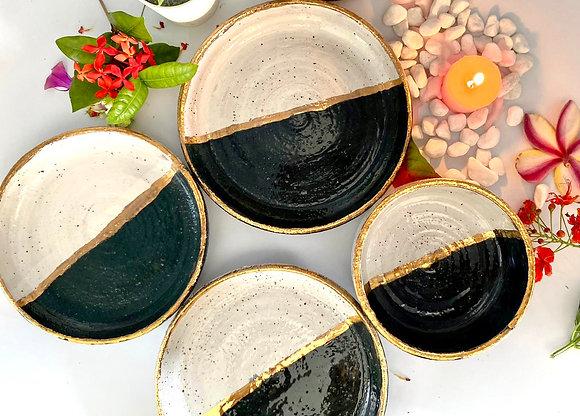 'YinYang' gold rimmed desert plate set