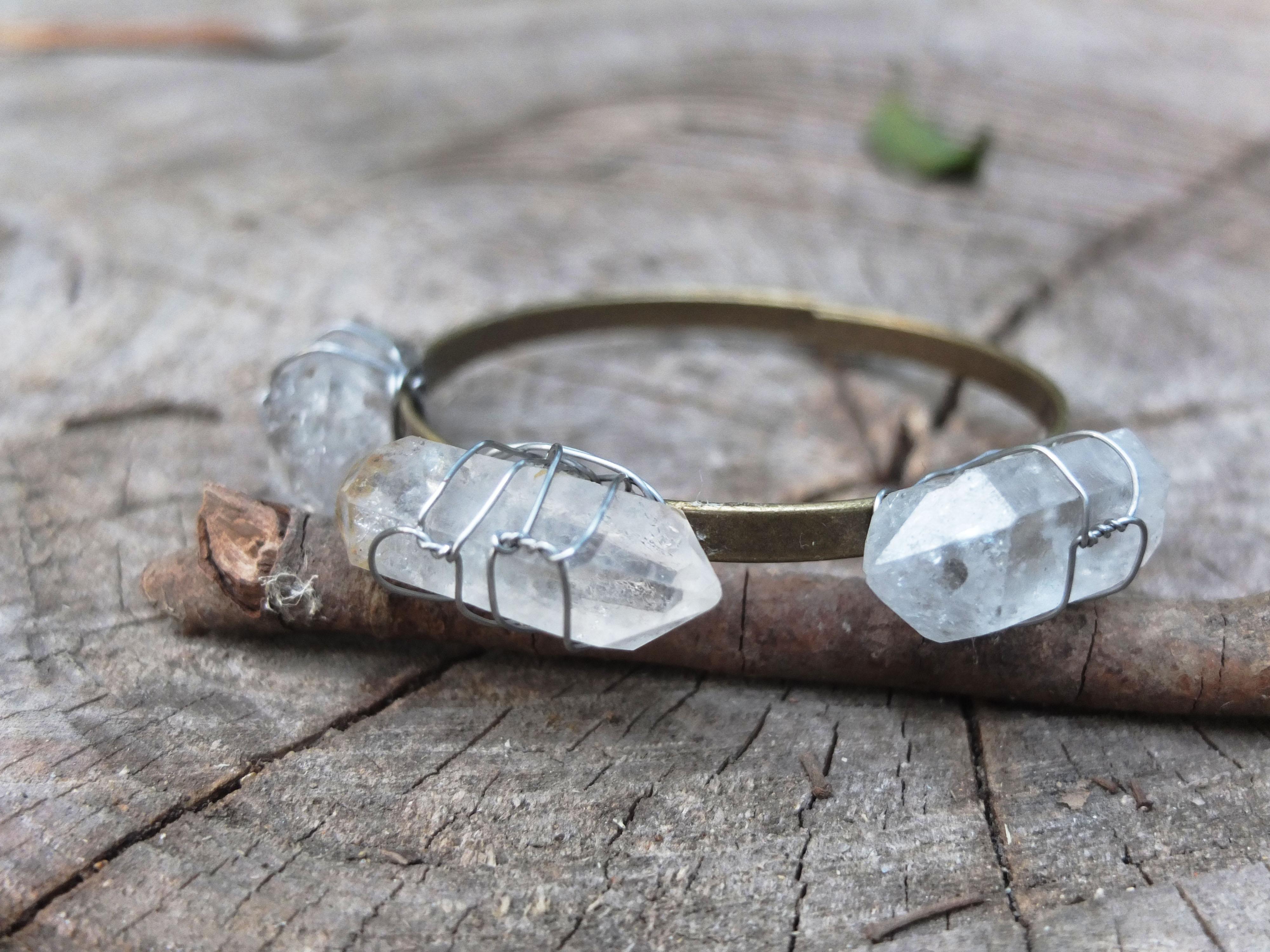 Wire Wrap Clear Quartz Bracelet