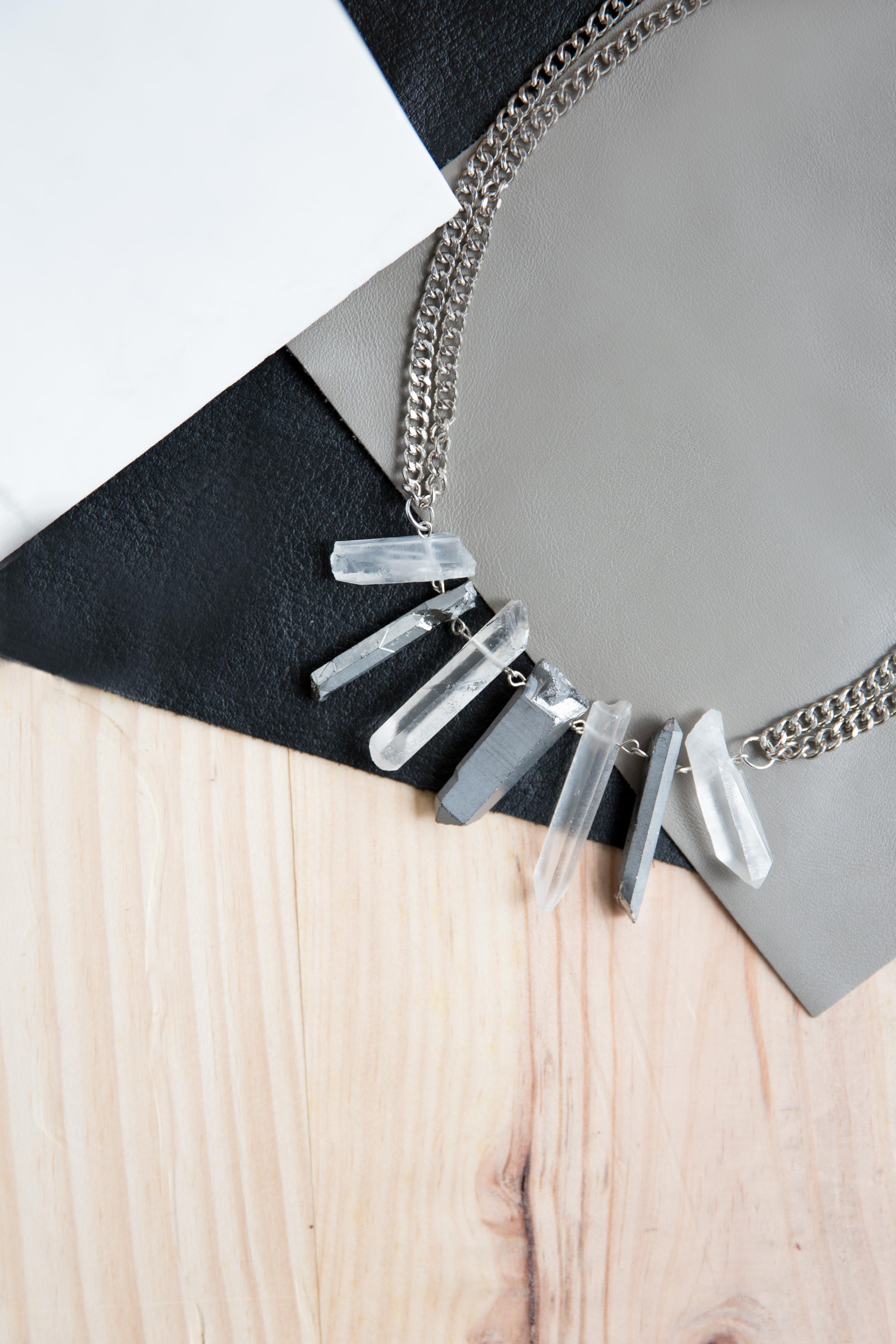 Two Tone Quartz Statement Necklace