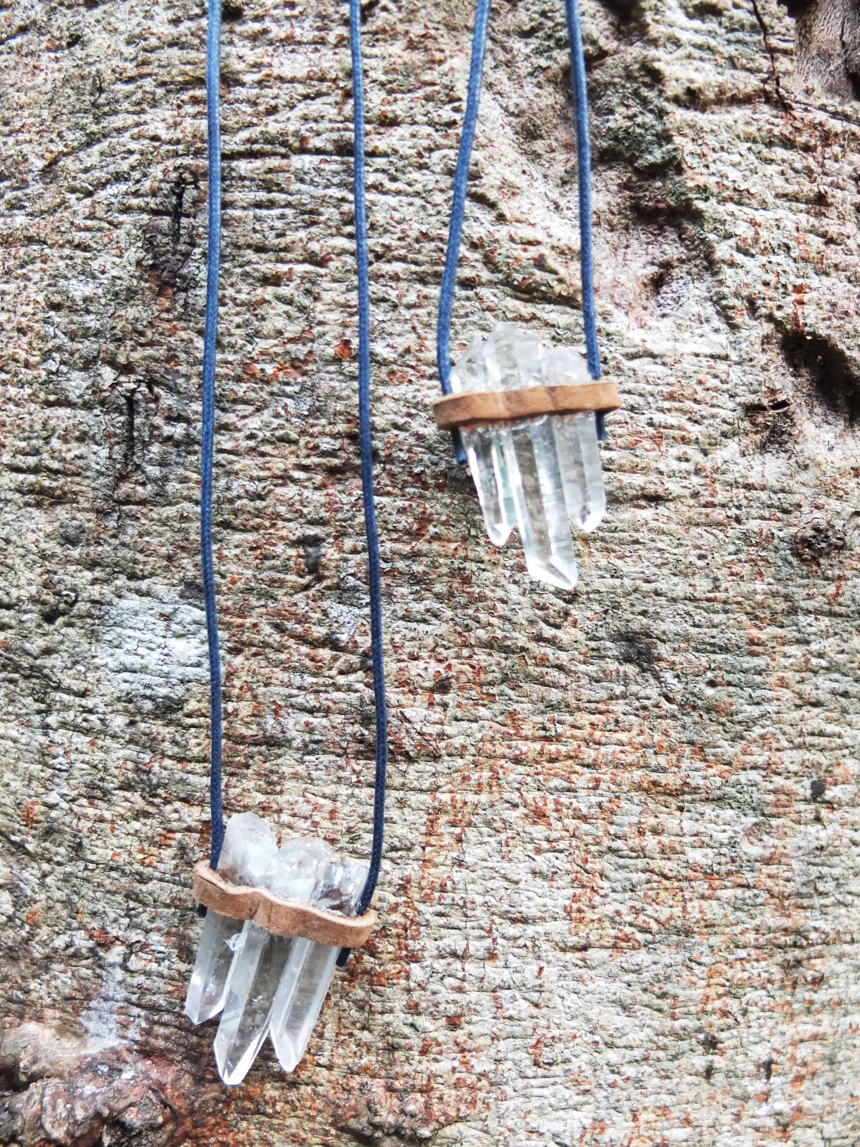 Clear Quartz Leather Necklace