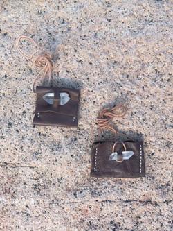 Quartz Embellished Leather Necklace