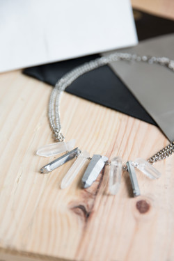 Two Tone Quartz Statement Necklace