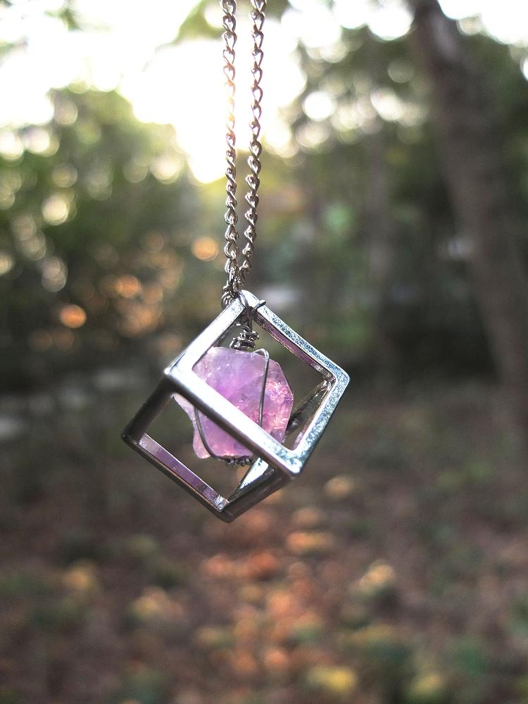 Wire Wrap Amethyst Square Necklace
