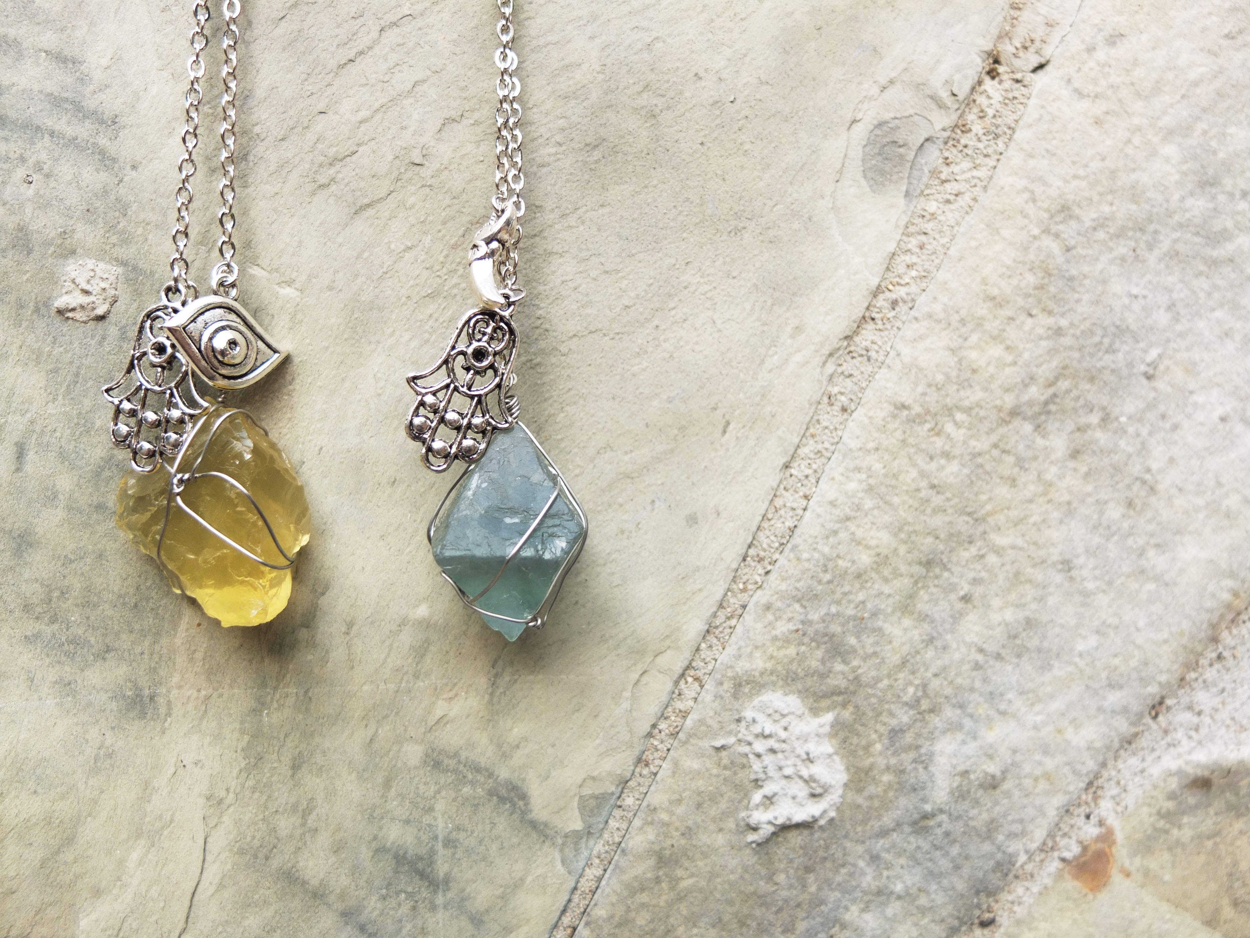 Wire Wrap Crystal & Charm Necklace