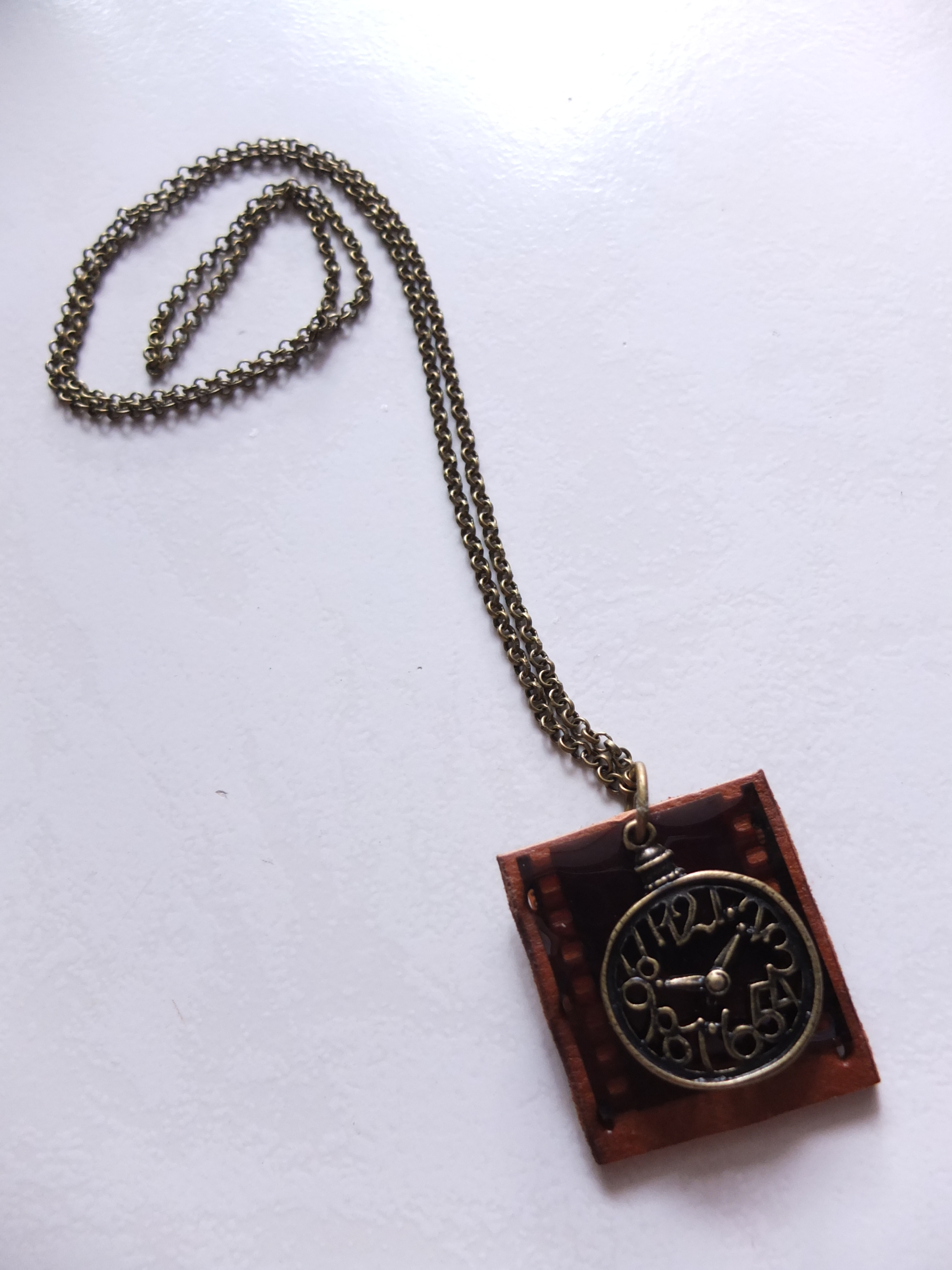 Leather with Film Necklace