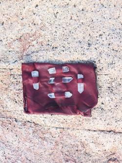 Quartz Embellished Leather Pouch