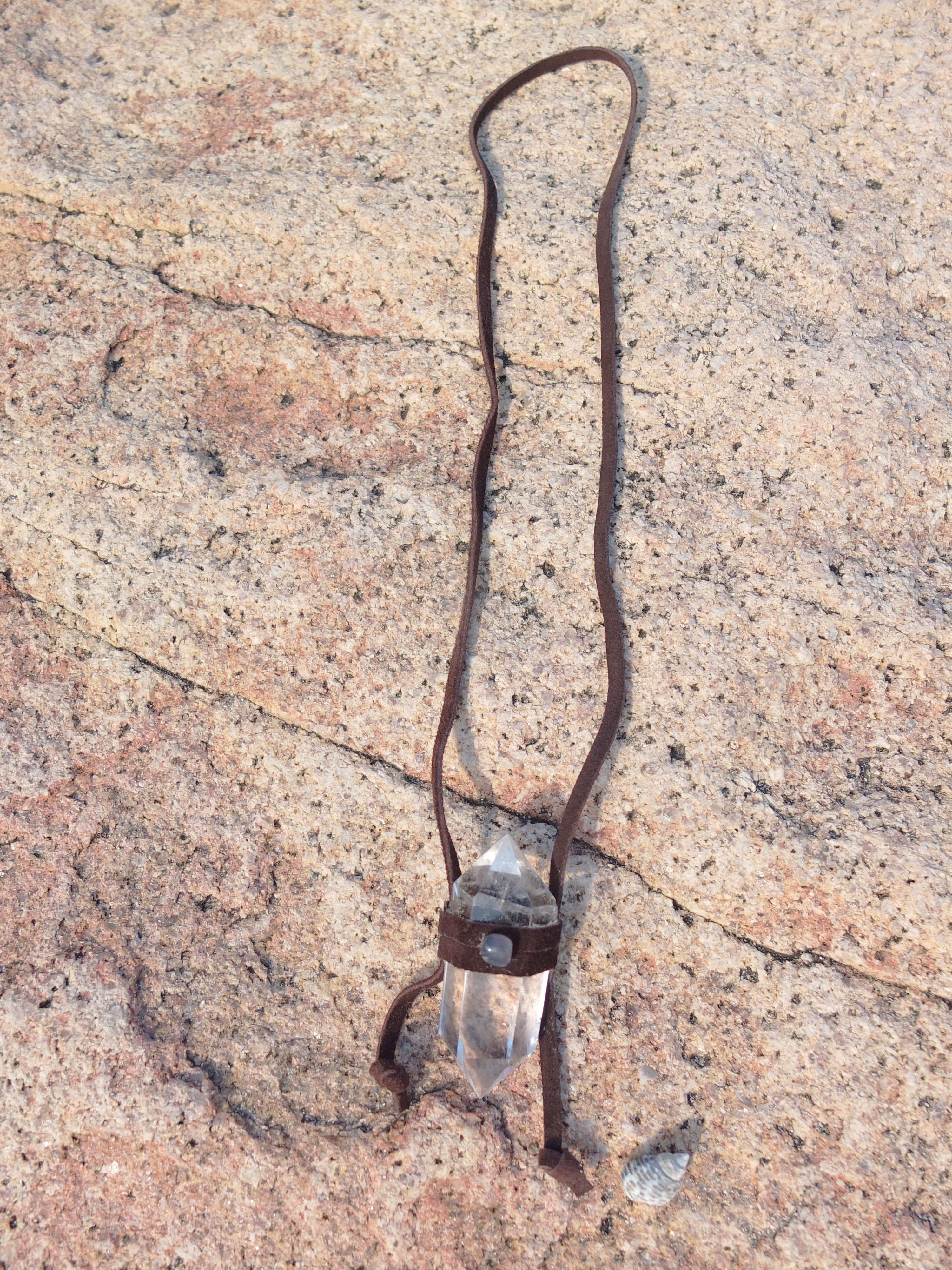 Suede Clear Quartz Necklace