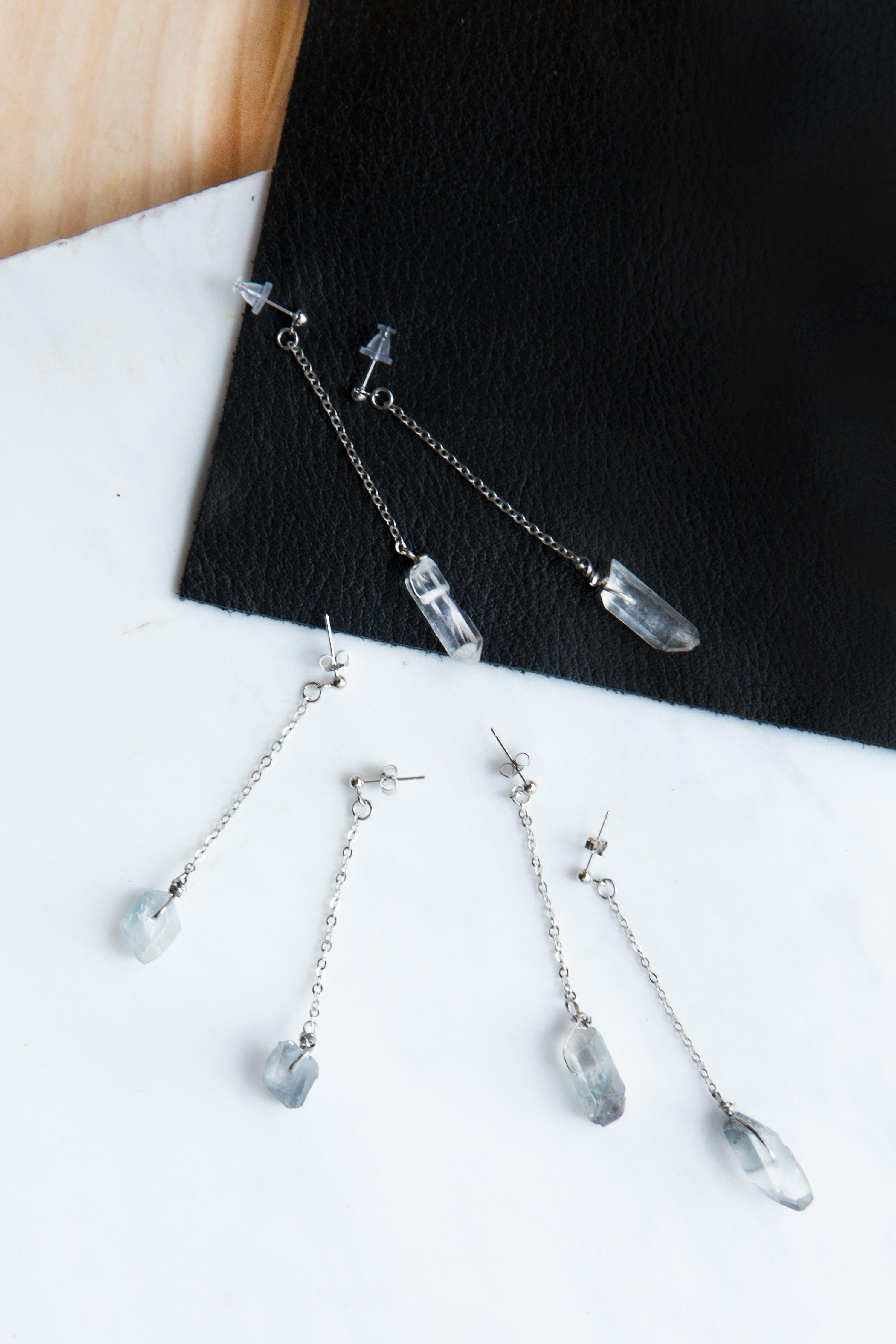 Single Drop Quartz Earrings