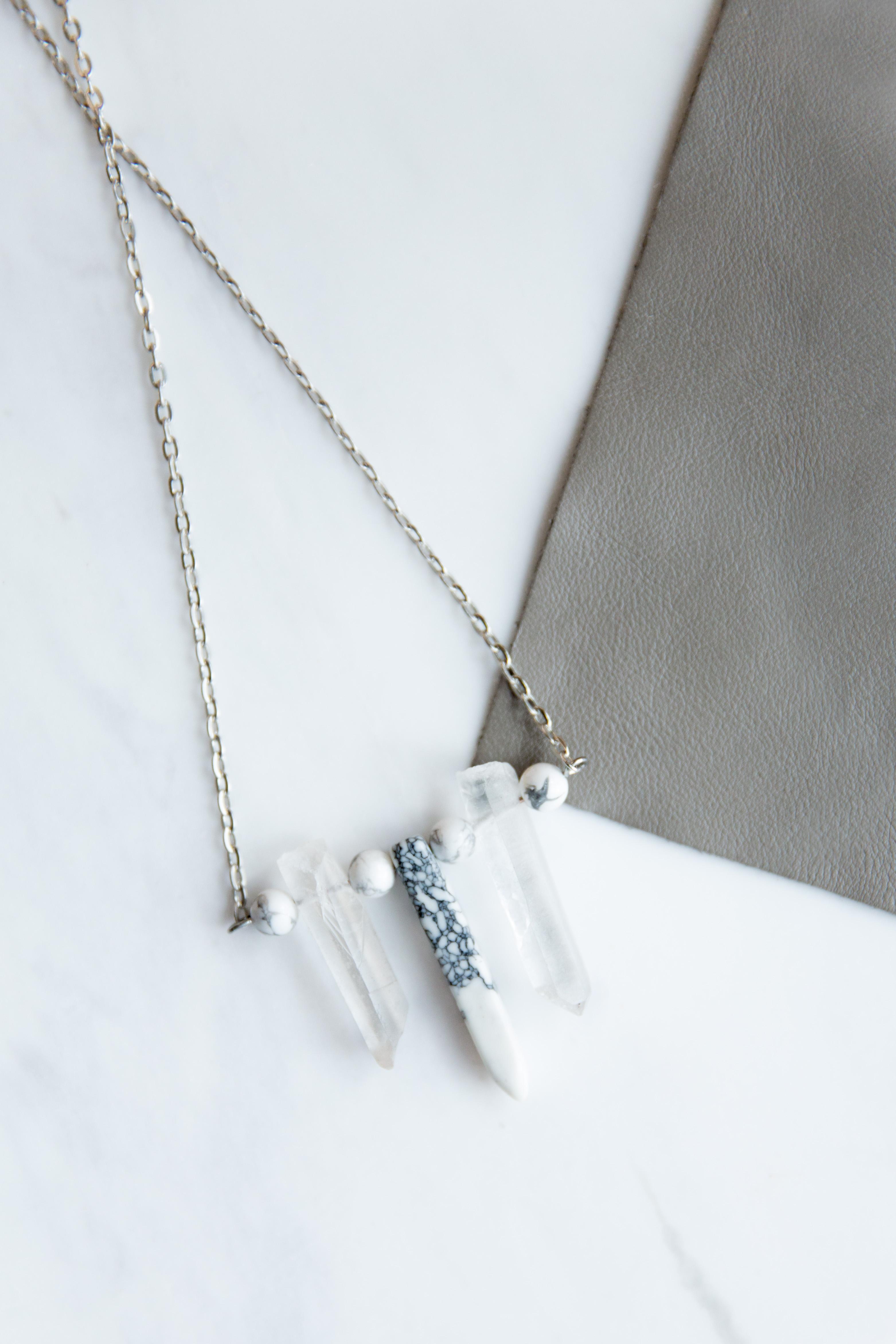Quartz with Marble Necklace