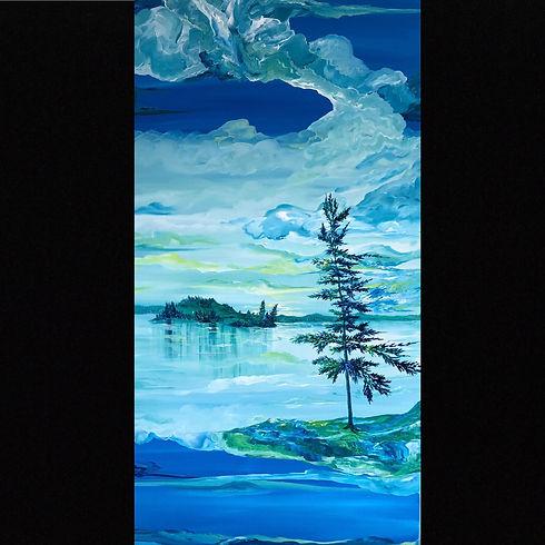 Judith McKay-Karma in Blue-36x72-Acrylic