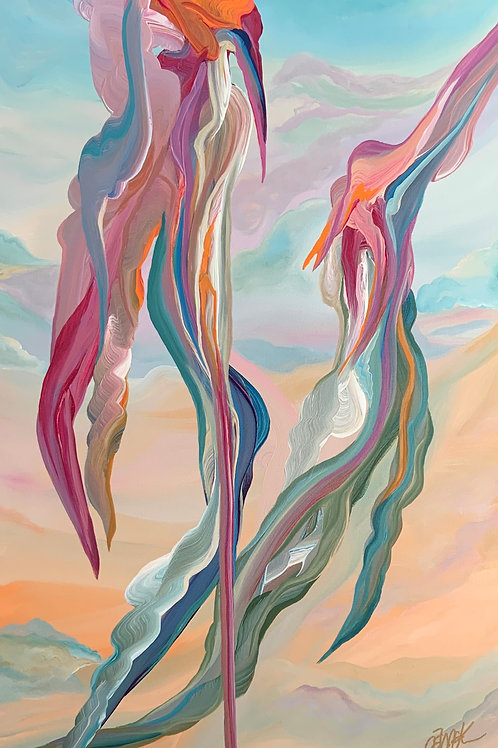 """Sky Flamingos (18""""x36"""")"""