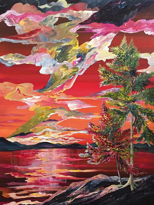 "SOLD! Crimson Sunset (30""x40"")"