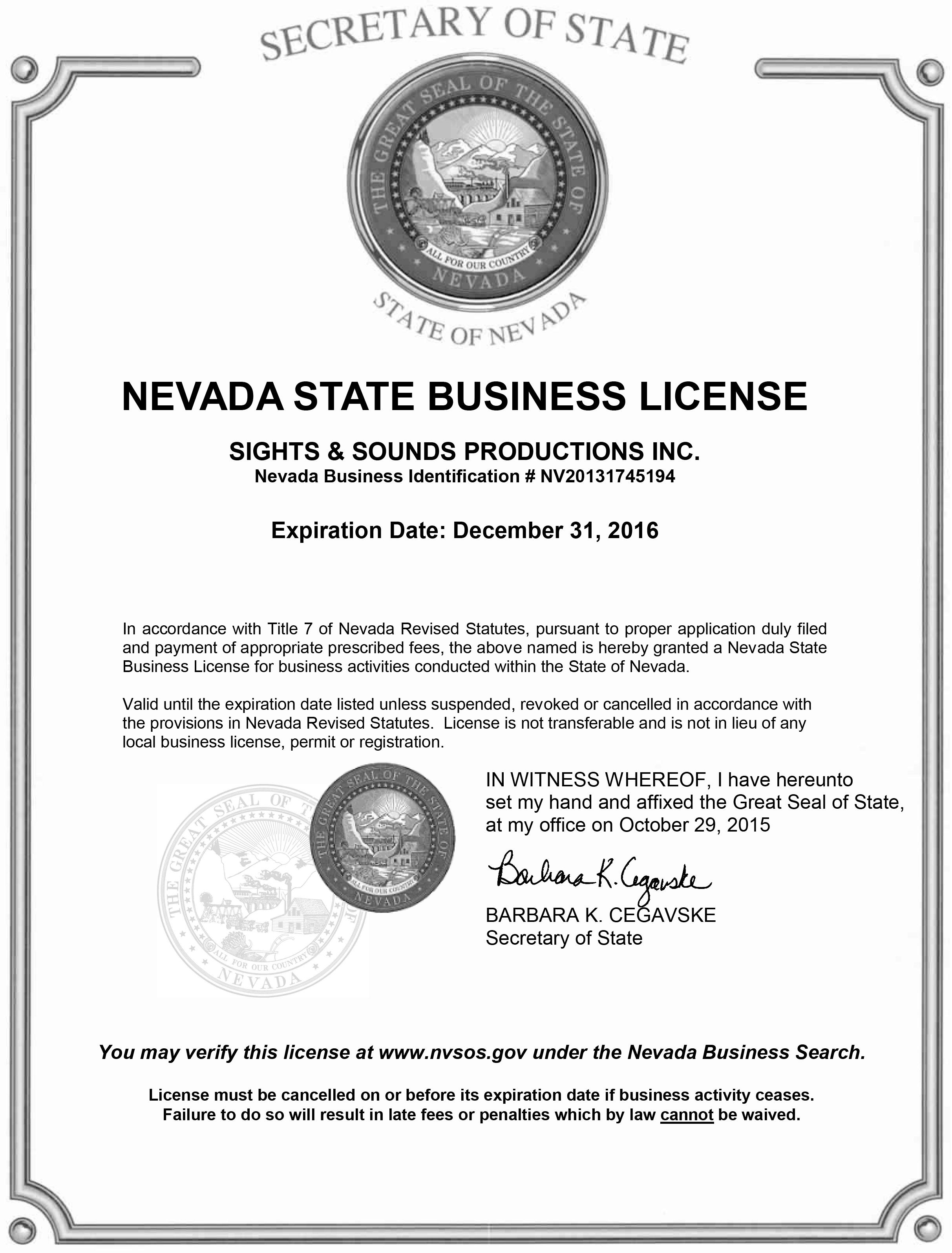 2016 buisness license