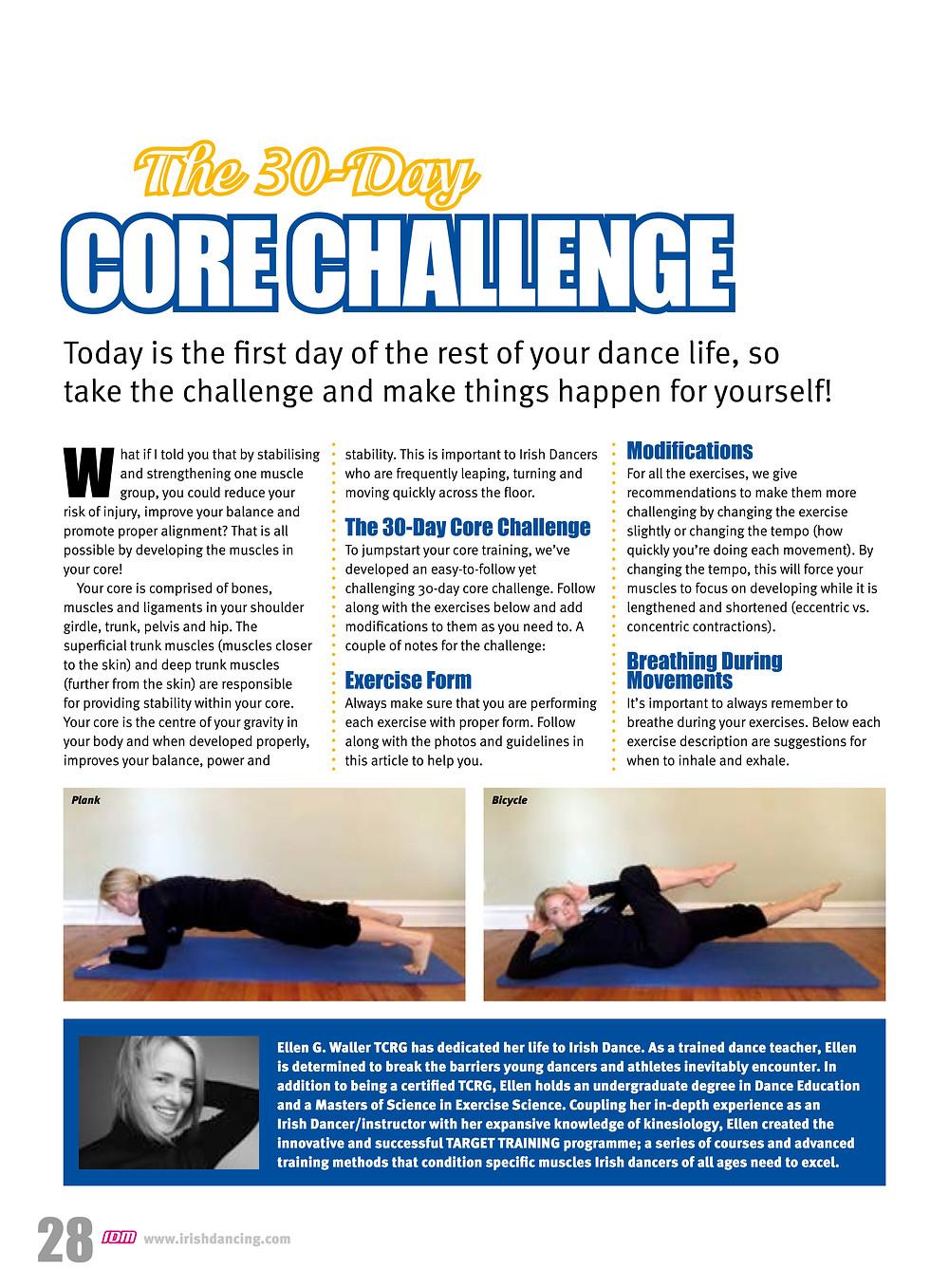 Irish dance training; Irish dance strength and conditioning; core exercises for Irish dance