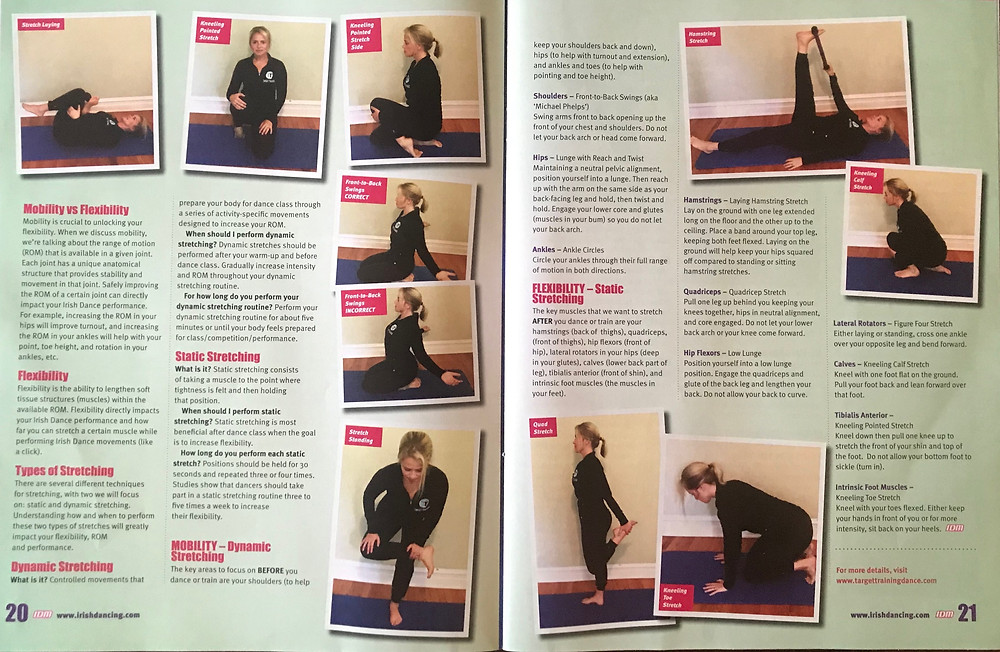 Irish dancing magazine, flexibility for Irish dancers, strength and conditioning for Irish dance