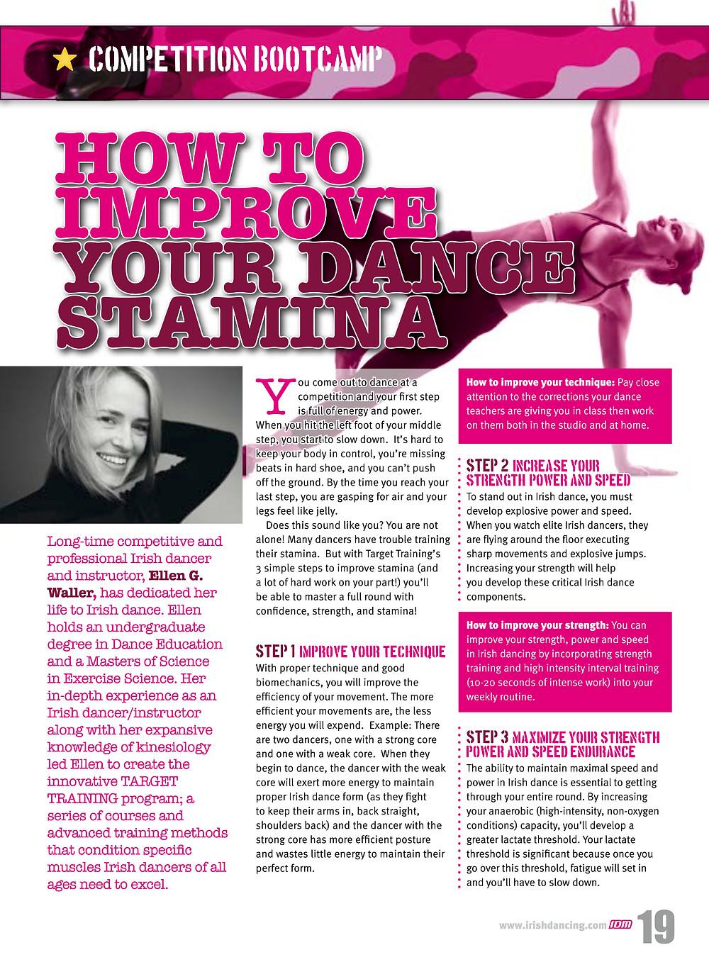 Irish dance strength and conditioning, stamina for Irish dancers, Irish dancing magazine