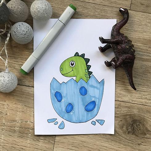 Kinder lernen einen Dino zu malen gratis