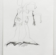 """Joshua Ross Selected Drawing from series In Pursuit: 'Knee' Graphite on paper 9"""" x 12""""  2017"""