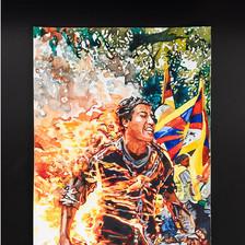 """Conrad Ruiz  Man on Fire 5 Watercolor on paper 12"""" x 9"""" 2019"""