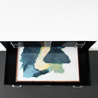 Veli-Matti Hoikka, Untitled (yellow, blue, dark green) INSTALL 2018, acrylic on paper, 22 5/8 x 30 1/4 inches