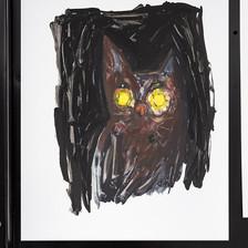 """Rachel Malin Flash Cat Friday   Acrylic on Yupo 11"""" x 14""""  2019"""
