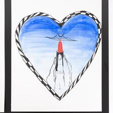 "Rachel Malin Blue Lips  Acrylic on Yupo 9"" x 12""  2019"