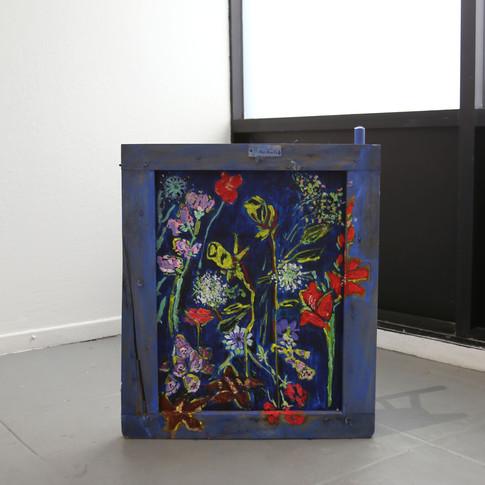 "Rochele Blue Shanna Waddell Oil, bamboo, wood, canvas, metal 23"" x 20"" x 11"" 2018"