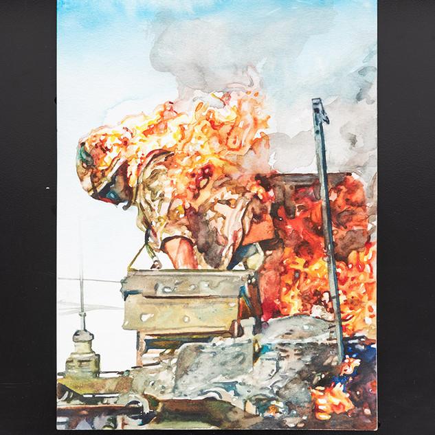 """Conrad Ruiz  Man on Fire 3 Watercolor on paper 12"""" x 9"""" 2019"""