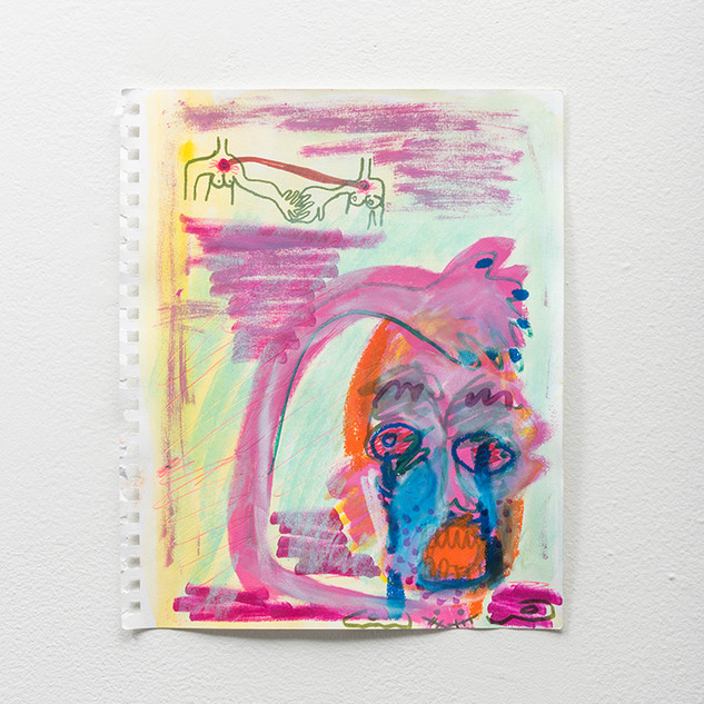 "Ari Salka Captivity and Shedding: Fevers in Sobriety  Mixed media on paper 12"" x 9 3/4""  2018 - 2019"