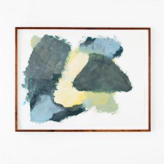 Veli-Matti Hoikka, Untitled (yellow, blue, dark green) 2018, acrylic on paper, 22 5/8 x 30 1/4 inches