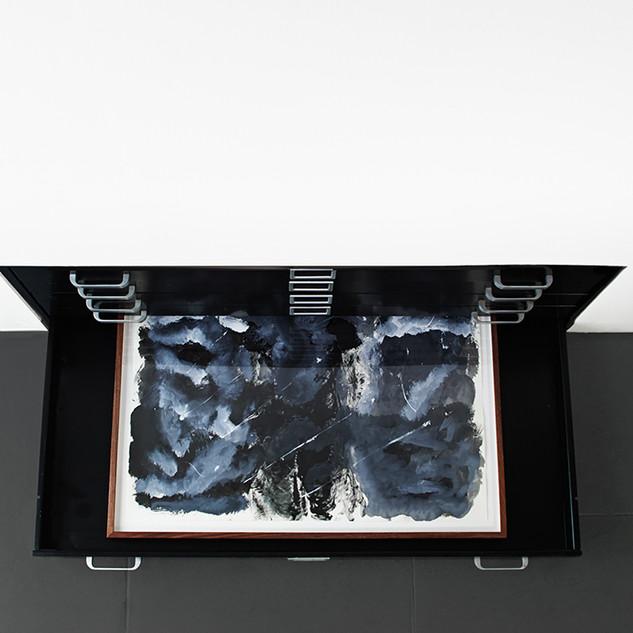 Veli-Matti Hoikka, Untitled (elephant) INSTALL 2018, acrylic on paper, 22 x 29 7/8 inches