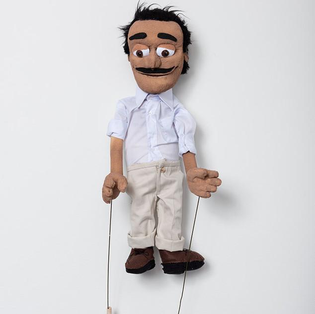 """Wendy Cabrera Rubio Ultimas conversaciones con José Gómez Sicre  Foam, acrylic paint, felt, cotton, lycra, wire, wood, synthetic fiber and plastic  27.5"""" x  8"""" x4"""" 2019"""