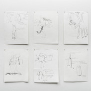 """Joshua Ross  Selected Grid of Drawings from series """"In Pursuit"""" 2017"""
