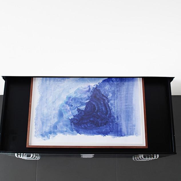 Veli-Matti Hoikka, Untitled (purple swell) INSTALL, 2018, acrylic on paper, 19 5/8 x 27 9/16 inches