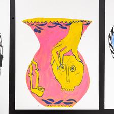 "Rachel Malin Pink Vase Acrylic on Yupo 9"" x 12""  2019"