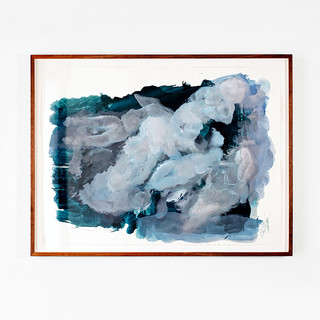 Veli-Matti Hoikka, Untitled (five floating figures in blue) 2018, acrylic on paper, 22 5/8 x 30 1/4 inches