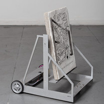 Josué Mejía Apunte para fresco móvil número dos              Fresco on unicel sheet covered with cement and mobile vehicle.                  Dimensions vary 2019