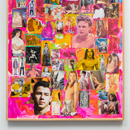 "Richard Hawkins  Twilight of the Gods Acrylic and collage on panel 49"" x 37"""