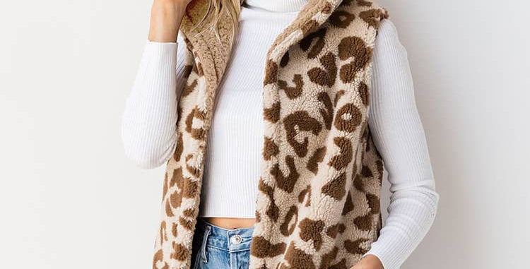 Reversible Sherpa Hooded Vest Leopard & Taupe